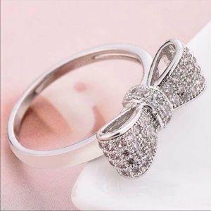 NEW 925 STERLING SILVER DIAMOND MILGRAIN BOW RING*